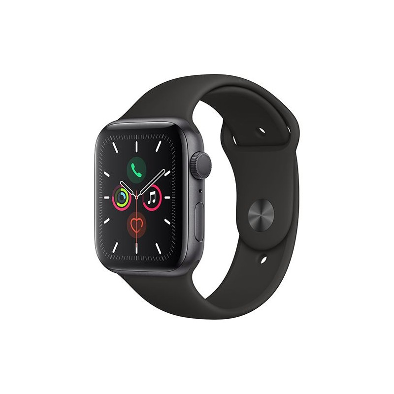 Apple Watch Series 5 GPS 44mm Recondicionado Preto Frente e Bracelete